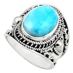 6.15cts natural blue larimar 925 sterling silver solitaire ring size 8 r52195