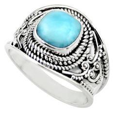 3.16cts natural blue larimar 925 sterling silver solitaire ring size 8 r52201