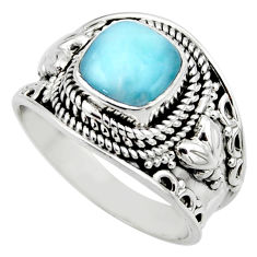 3.01cts natural blue larimar 925 sterling silver solitaire ring size 8 r52211