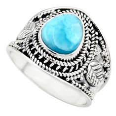 3.29cts natural blue larimar 925 sterling silver solitaire ring size 8 r52212