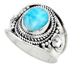 4.38cts natural blue larimar 925 sterling silver solitaire ring size 8 r52218