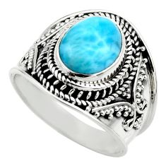 4.38cts natural blue larimar 925 sterling silver solitaire ring size 8 r52219