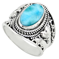 5.01cts natural blue larimar 925 sterling silver solitaire ring size 8 r52225