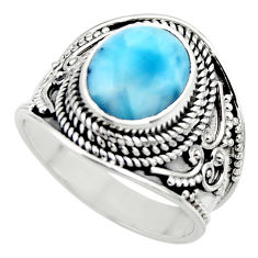 5.30cts natural blue larimar 925 sterling silver solitaire ring size 8 r52226