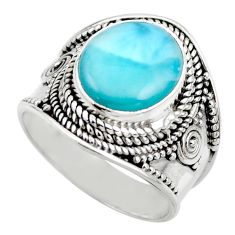 5.63cts natural blue larimar 925 sterling silver solitaire ring size 8 r52229