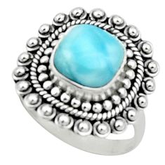 5.12cts natural blue larimar 925 sterling silver solitaire ring size 8 r52403
