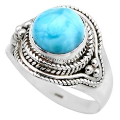 4.69cts natural blue larimar 925 sterling silver solitaire ring size 8 r53565