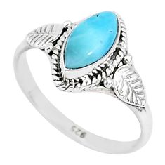 2.55cts natural blue larimar 925 sterling silver solitaire ring size 8 r93806