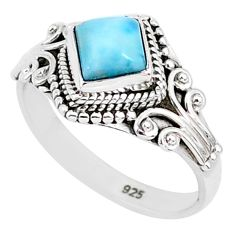 1.21cts natural blue larimar 925 sterling silver solitaire ring size 8 r93812