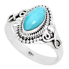 2.53cts natural blue larimar 925 sterling silver solitaire ring size 8 r93836