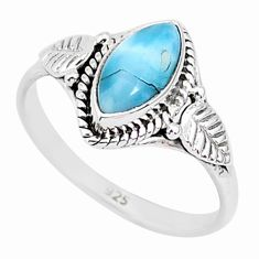 2.36cts natural blue larimar 925 sterling silver solitaire ring size 8 r93840