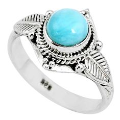 2.68cts natural blue larimar 925 sterling silver solitaire ring size 8 r93863