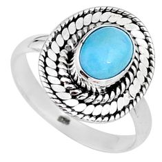2.02cts natural blue larimar 925 sterling silver solitaire ring size 8 t15911