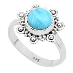 2.62cts natural blue larimar 925 sterling silver solitaire ring size 8 t4951
