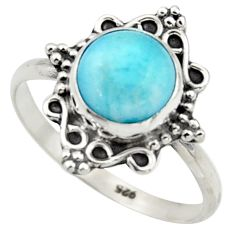 2.89cts natural blue larimar 925 sterling silver solitaire ring size 9 r41564