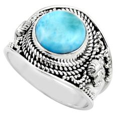 5.42cts natural blue larimar 925 sterling silver solitaire ring size 9 r52221