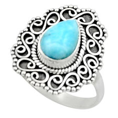 2.33cts natural blue larimar 925 sterling silver solitaire ring size 9 r52419