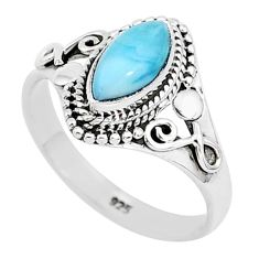 2.39cts natural blue larimar 925 sterling silver solitaire ring size 9 r93831