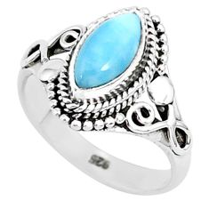2.53cts natural blue larimar 925 sterling silver solitaire ring size 9 r93833