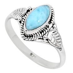 2.42cts natural blue larimar 925 sterling silver solitaire ring size 9 r93845
