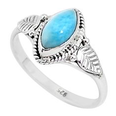 2.37cts natural blue larimar 925 sterling silver solitaire ring size 9 r93857