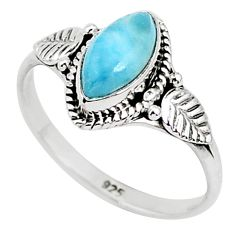 2.60cts natural blue larimar 925 sterling silver solitaire ring size 9 r93870