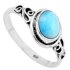 1.99cts natural blue larimar 925 sterling silver solitaire ring size 9 t15910
