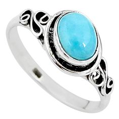 2.00cts natural blue larimar 925 sterling silver solitaire ring size 9 t15919