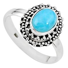 2.17cts natural blue larimar 925 sterling silver solitaire ring size 8.5 t15907