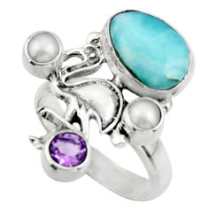 6.71cts natural blue larimar amethyst 925 sterling silver ring size 8 r44697