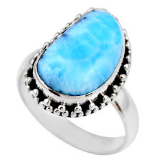 7.30cts natural blue larimar fancy 925 silver solitaire ring size 7.5 r53782