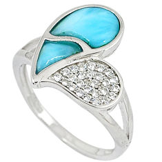 Natural blue larimar fancy white topaz 925 silver ring size 8 a33027 c15075