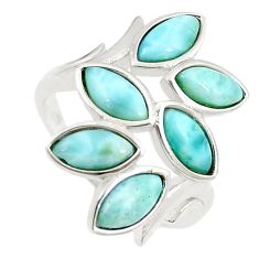 Natural blue larimar marquise 925 sterling silver ring size 7.5 a68635 c15081