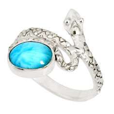 3.50cts natural blue larimar oval 925 sterling silver snake ring size 7.5 r78789