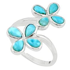 Natural blue larimar pear 925 sterling silver ring jewelry size 9 a63339 c15041