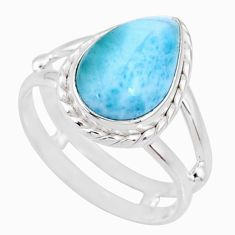 5.07cts natural blue larimar pear silver solitaire ring jewelry size 8.5 r68149