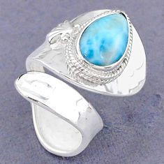 4.74cts natural blue larimar pear sterling silver adjustable ring size 6 t8632