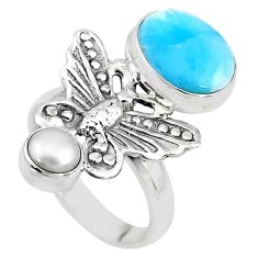 6.32cts natural blue larimar pearl 925 silver butterfly ring size 7.5 t10290