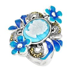 Natural blue larimar pearl enamel lady face 925 silver ring size 7.5 c16320