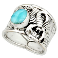 2.90cts natural blue larimar silver scorpion charm solitaire ring size 8 r22415