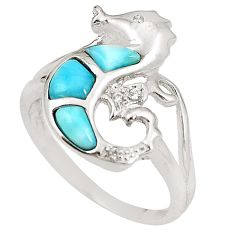 Natural blue larimar topaz 925 silver seahorse ring size 8.5 a76522 c15185