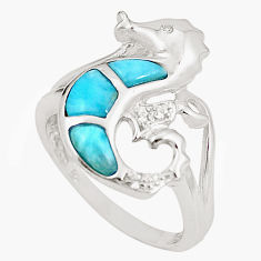 Natural blue larimar topaz 925 silver seahorse ring size 6.5 a76533 c15184