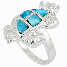 Natural blue larimar topaz 925 sterling silver crab ring size 6 a33083 c15141