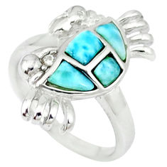 Natural blue larimar topaz 925 sterling silver crab ring size 6 a46894 c15158