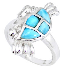 Natural blue larimar topaz 925 sterling silver crab ring size 6 a48912 c15148