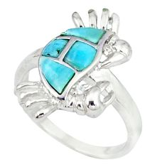 Natural blue larimar topaz 925 sterling silver crab ring size 7 a46877 c15144