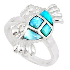 Natural blue larimar topaz 925 sterling silver crab ring size 7 a46895 c15155