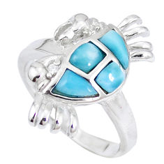 Natural blue larimar topaz 925 sterling silver crab ring size 7 a48908 c15160