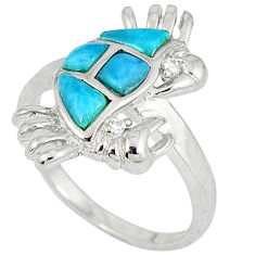 Natural blue larimar topaz 925 sterling silver crab ring size 8 a33025 c15142