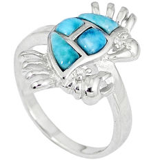 Natural blue larimar topaz 925 sterling silver crab ring size 8 a33087 c15143